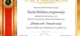 Olimpis 2018 – Pavasario sesijos rezultatai